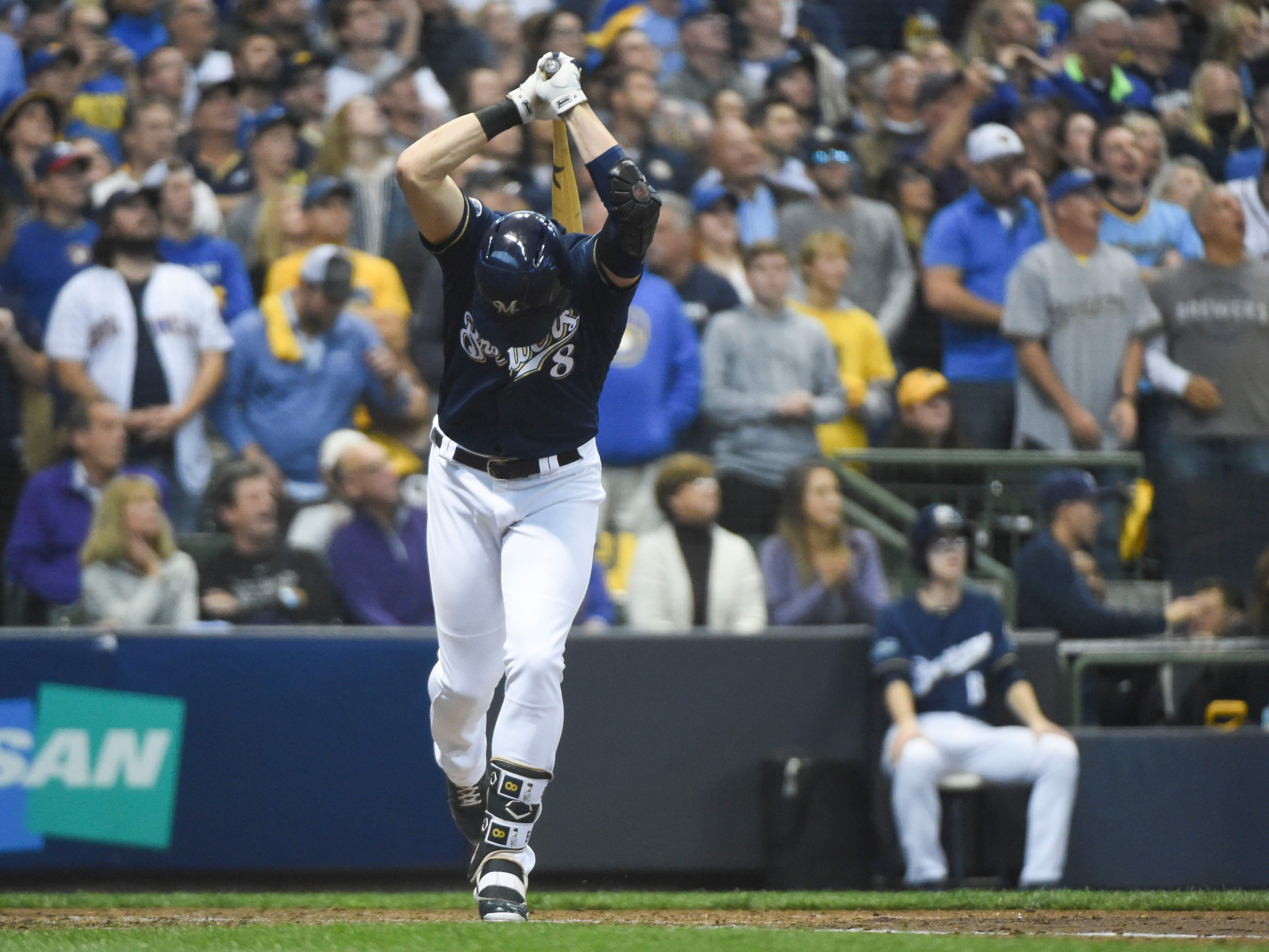 NLDS Game 2: Brewers left fielder Ryan Braun gets upset after flying out with the bases loaded in the third inning.