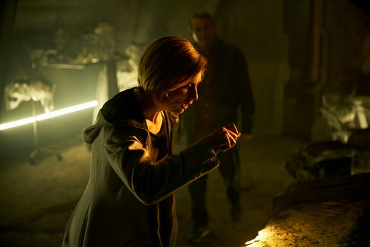"Jodie Whittaker in action as the Doctor on ""Doctor Who."""