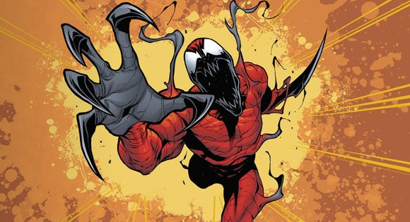 Psychopathic killer Carnage is one of Venom's chief supervillains in the comic books.