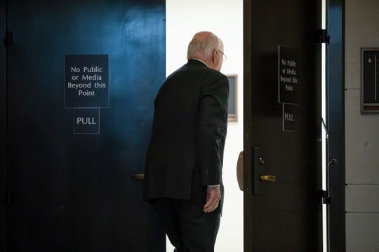 Sen. Patrick Leahy, D-Vt., a senior member of the Senate Judiciary Committee, enters a secure underground room in the Capitol to see a new FBI background file on sexual allegations that have been made against Supreme Court nominee Brett Kavanaugh, in Washington on Oct. 4, 2018.