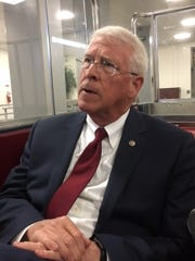 Sen. Roger Wicker, R-Miss., leaves the U.S. Capitol and heads back to his office Oct. 5, 2018.