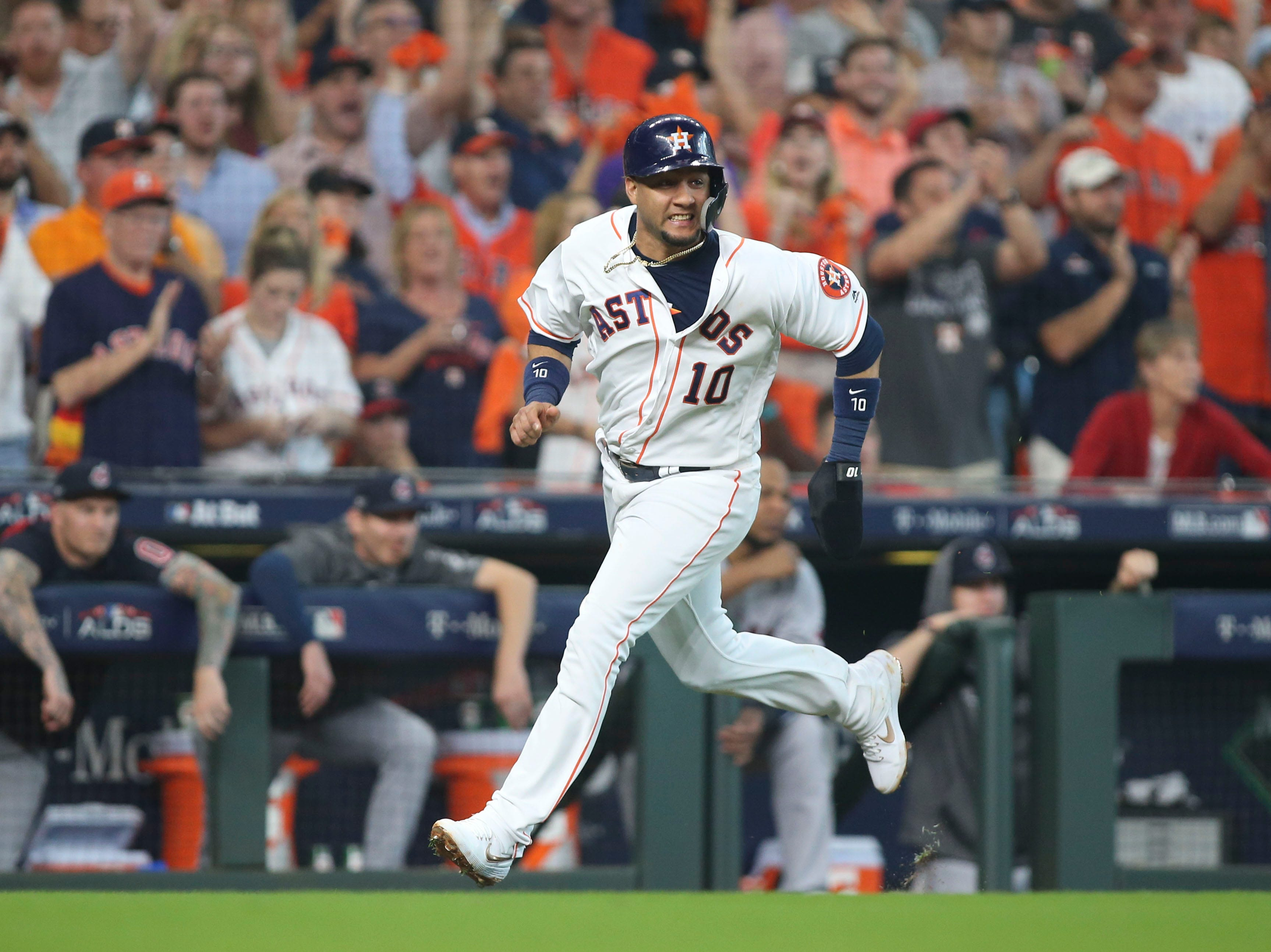 ALDS Game 1: Houston's Yuli Gurriel comes around to score on an RBI single by Josh Reddick in the fourth inning.