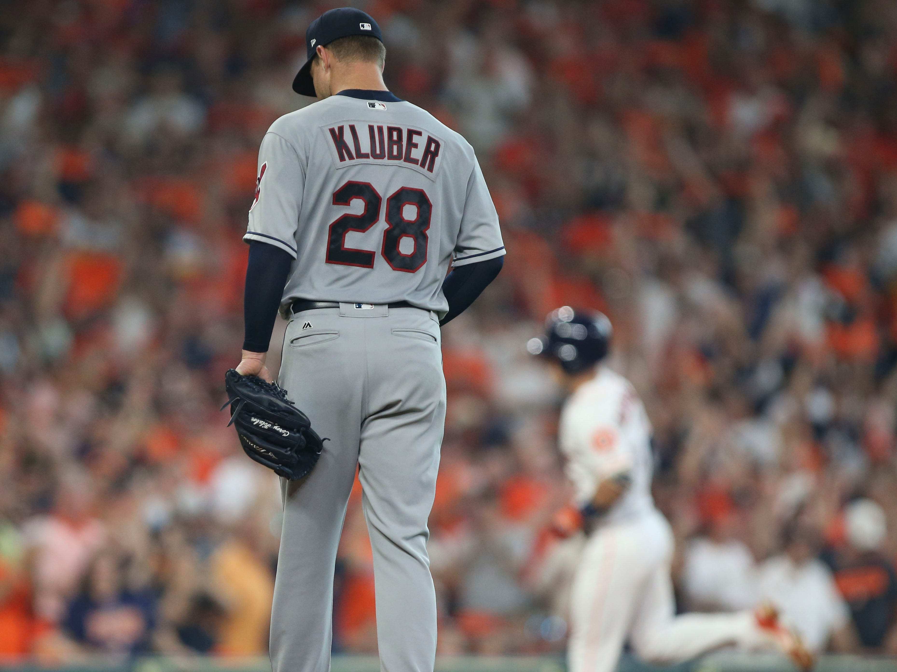 ALDS Game 1: Indians pitcher Corey Kluber reacts after giving up a solo home run against Alex Bregman in the fourth.