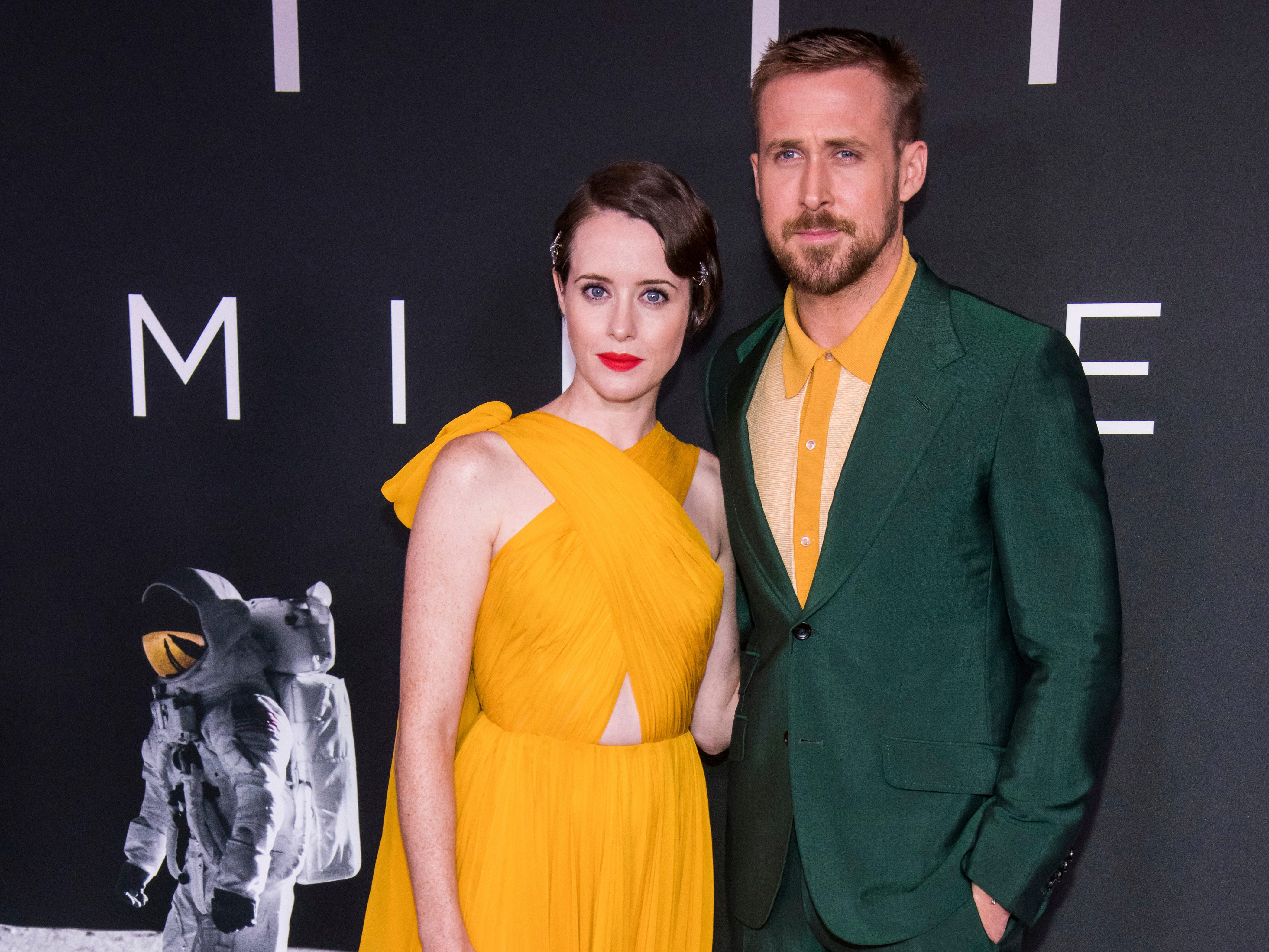 """Claire Foy and Ryan Gosling attend the """"First Man"""" premiere at the National Air and Space Museum of the Smithsonian Institution on Thursday, Oct. 4, 2018, in Washington. (Photo by Charles Sykes/Invision/AP) ORG XMIT: NYCS107"""