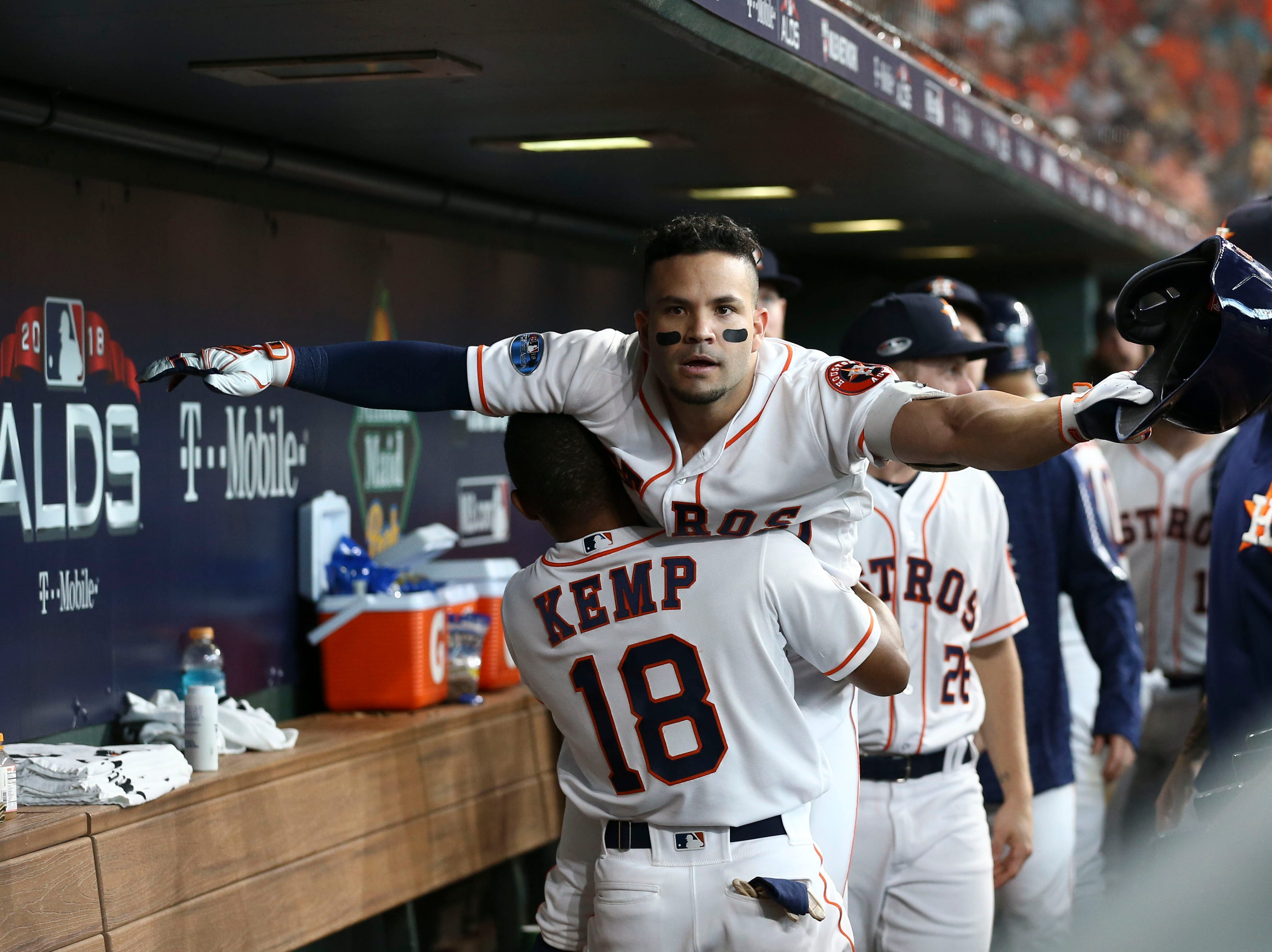 ALDS Game 1:  Astros second baseman Jose Altuve is congratulated by Tony Kemp after hitting a solo home run in the fifth inning.