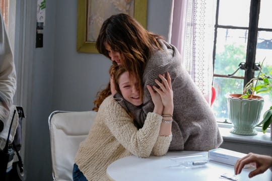 """Rachel (Kathryn Hahn) approaches her husband's step-niece (Kayli Carter) about egg donation in """"Private Life."""""""