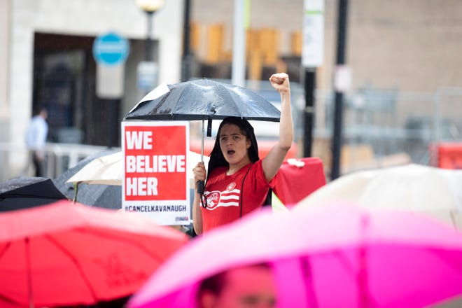 Mary Schartman chants during the #Cancel Kavanaugh Take #MeToo into the Streets protest in Cincinnati.