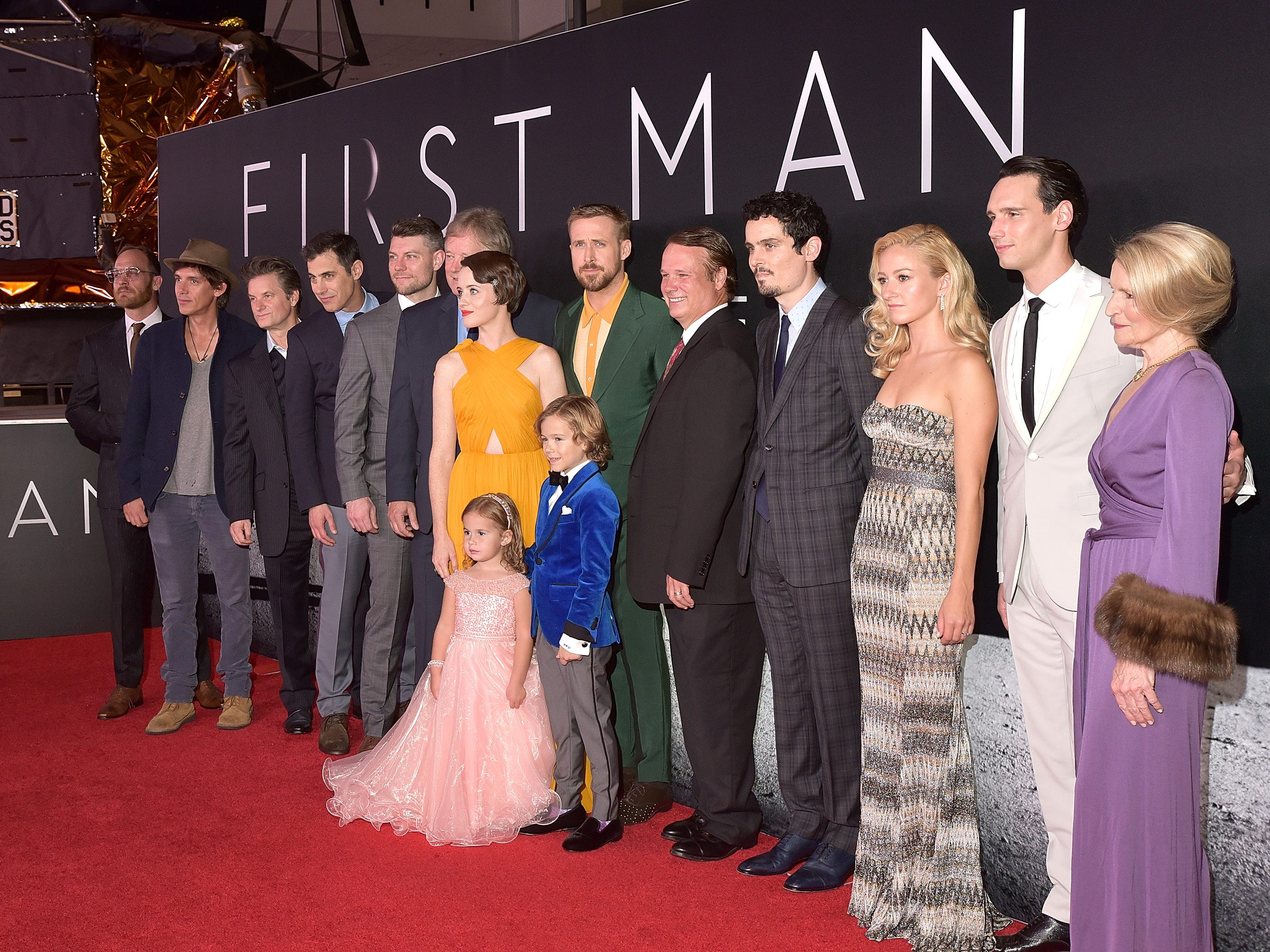 """WASHINGTON, DC - OCTOBER 04:  The cast attends the """"First Man"""" premiere at the National Air and Space Museum on October 4, 2018 in Washington, DC.  (Photo by Shannon Finney/Getty Images) ORG XMIT: 775234726 ORIG FILE ID: 1045748468"""