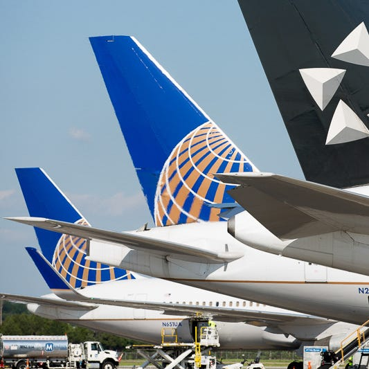 United Airlines' tails at Washington Dulles International Airport on June 29, 2018.