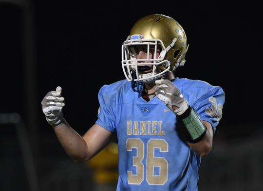 DW Daniel linebacker David Cote(36) during the third quarter at D.W. Daniel High School in Central on Friday, October 5, 2018.
