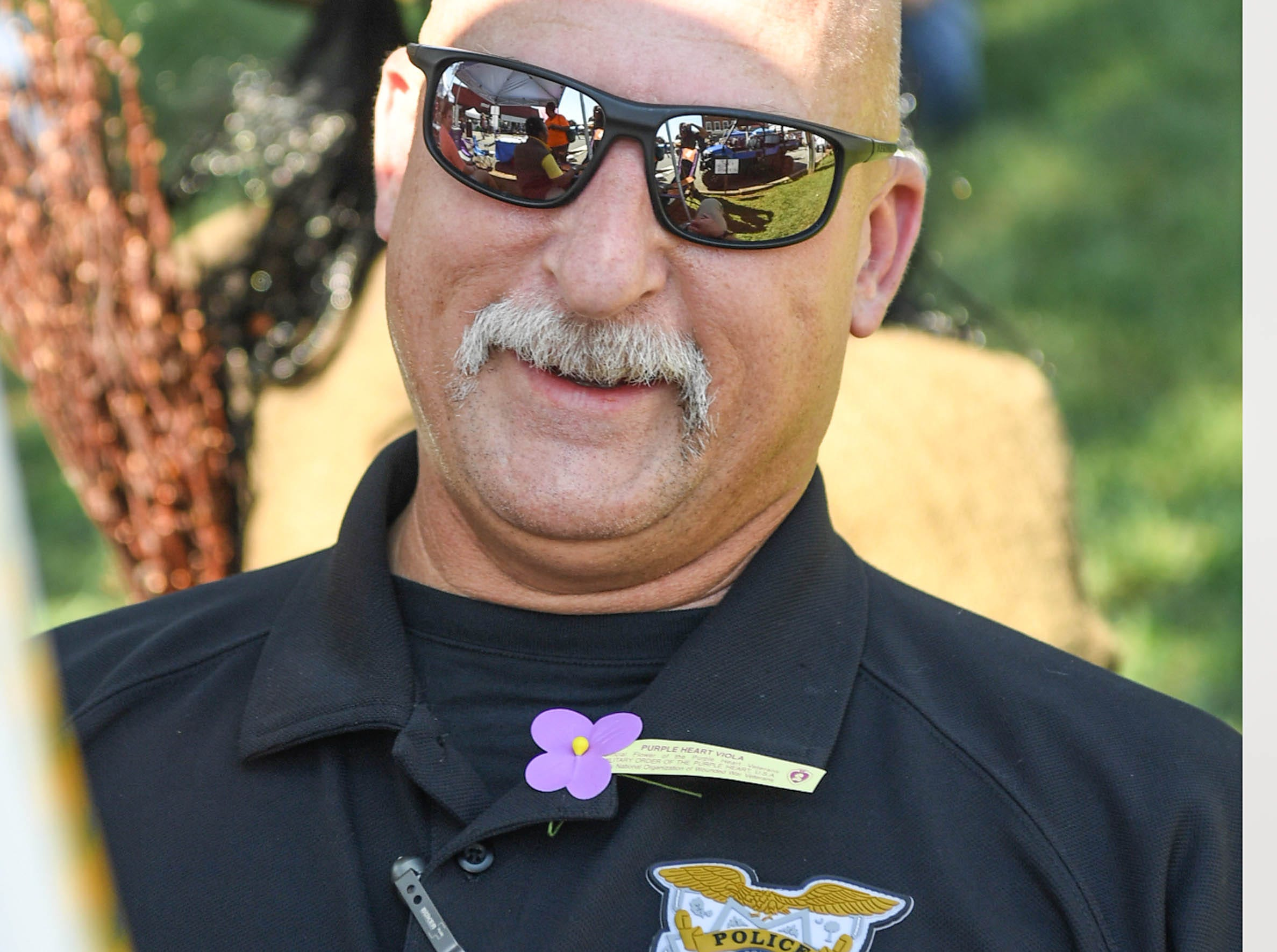 Pendleton Chief of Police Doyle Burdette at the 20th Pendleton Fall Harvest Festival in the town square on Saturday, October 5, 2018.