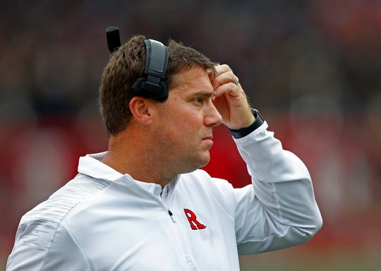 Rutgers Scarlet Knights head coach Chris Ash reacts during first half against Illinois Fighting Illini at High Point Solutions Stadium.