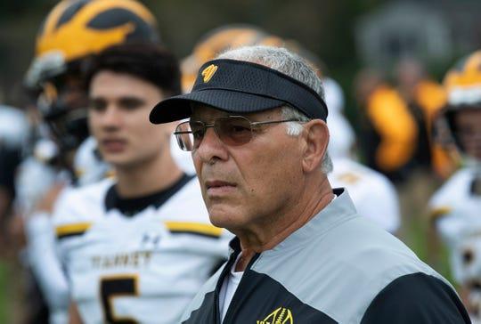 SJV coach Joe Martucci. St John Vianney Football vs Freehold Boro in Freehold, NJ on October 6, 2018.