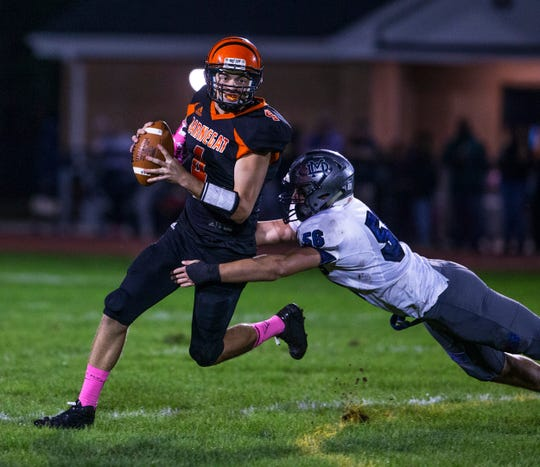 Dominick Giudice of Mater Dei Prep records a sack in a football game against Barnegat on Oct. 5, 2018.