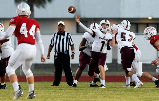 Astronaut High QB Connor Ferguson passes the ball during Friday's game.
