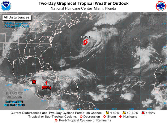 An image from the National Hurricane Center shows an overview of active systems in the Atlantic on Oct. 6