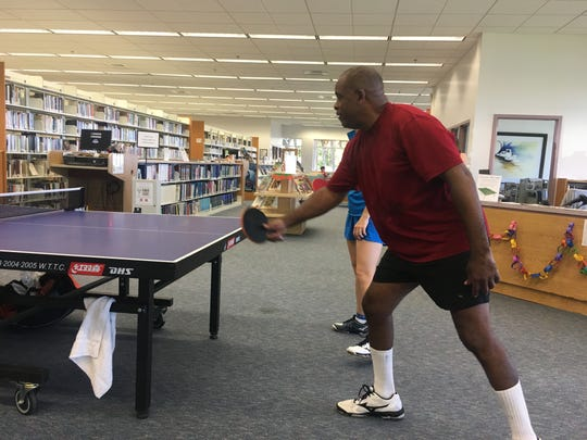 Space Coast Table Tennis club members gave an exhibition and lessons at the Eau Gallie library Saturday.