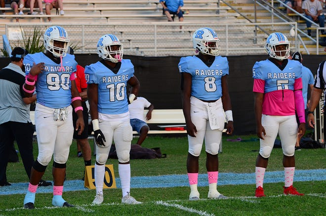 Raider team captains Dorien Josey, Jeffer Thomas, OC Brothers, and Jalen Mitchell. (photo by Tony Dees/for Florida Today)