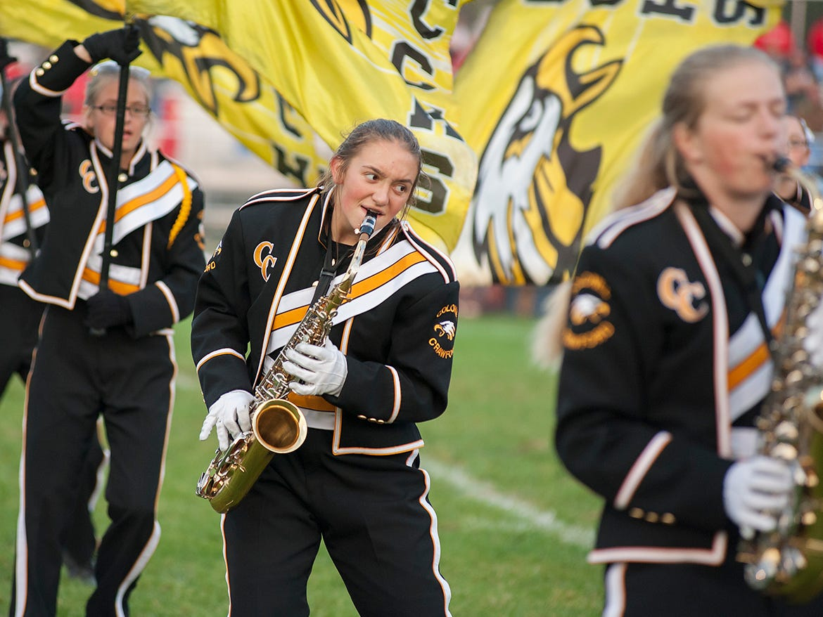 Colonel Crawford's band performs before the game against Buckeye Central.