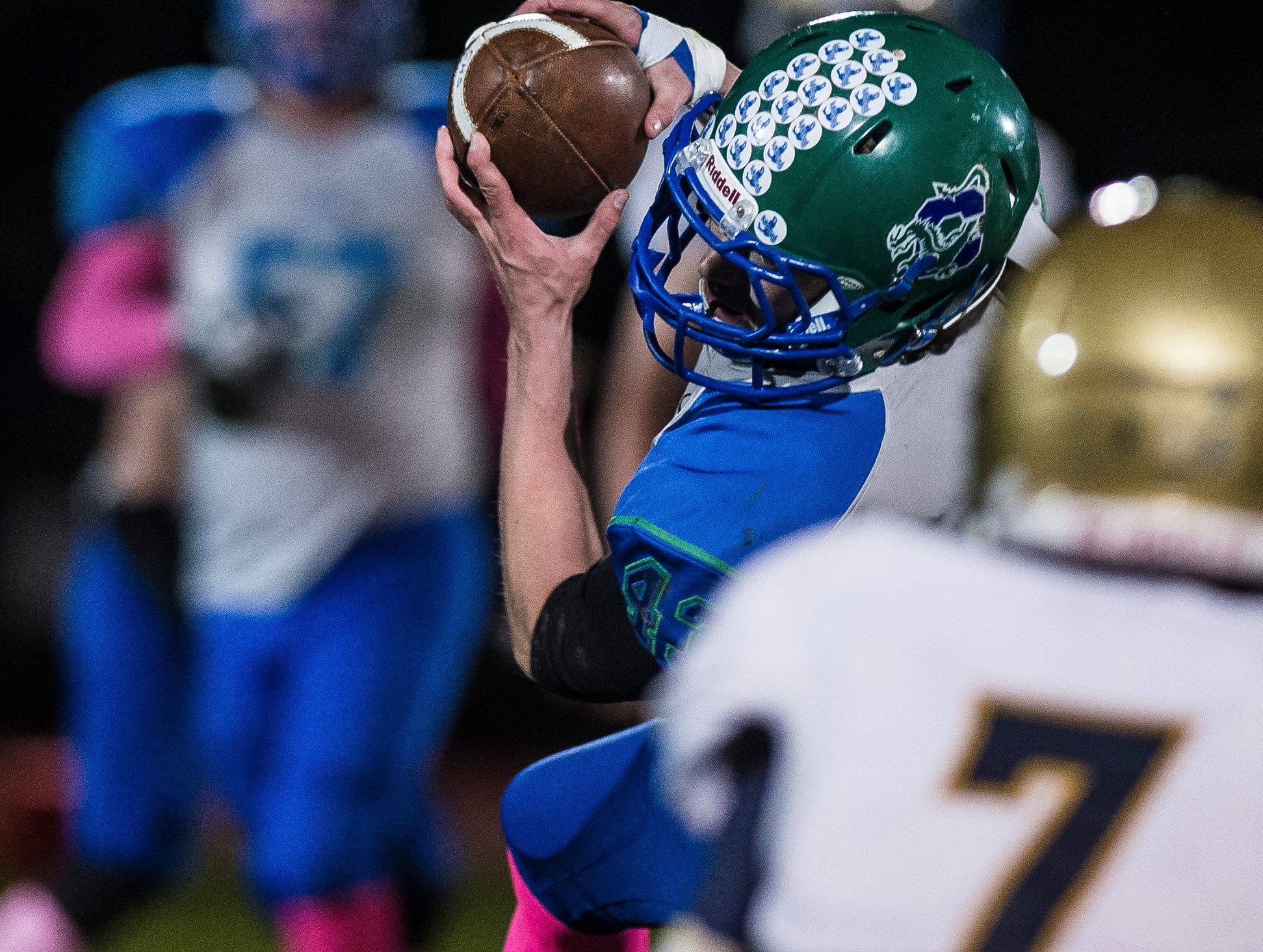 Colchester #43 Max Anderson snags the pass during their football game against Essex on Friday night, Oct. 5, 2018, at Colchester High School. The Lakers won, 28-7.