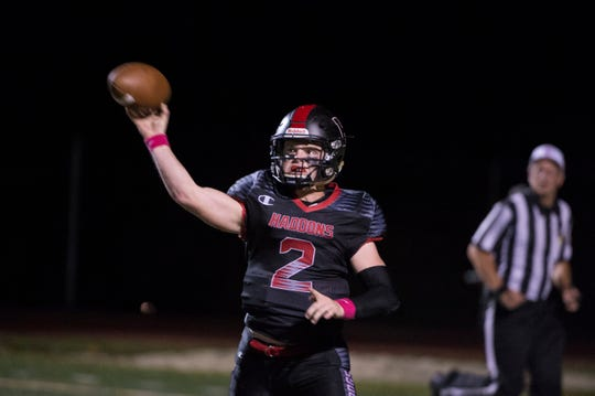 Haddonfield quarterback Jay Foley (2) throws the ball against West Deptford Friday, Oct. 5, 2018 in Haddonfield, N.J. Haddonfield won 27-21.