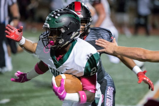 West Deptford's Tyshawn Bookman (27) carries the ball against Haddonfield Friday, Oct. 5, 2018 in Haddonfield, N.J. Haddonfield won 27-21.
