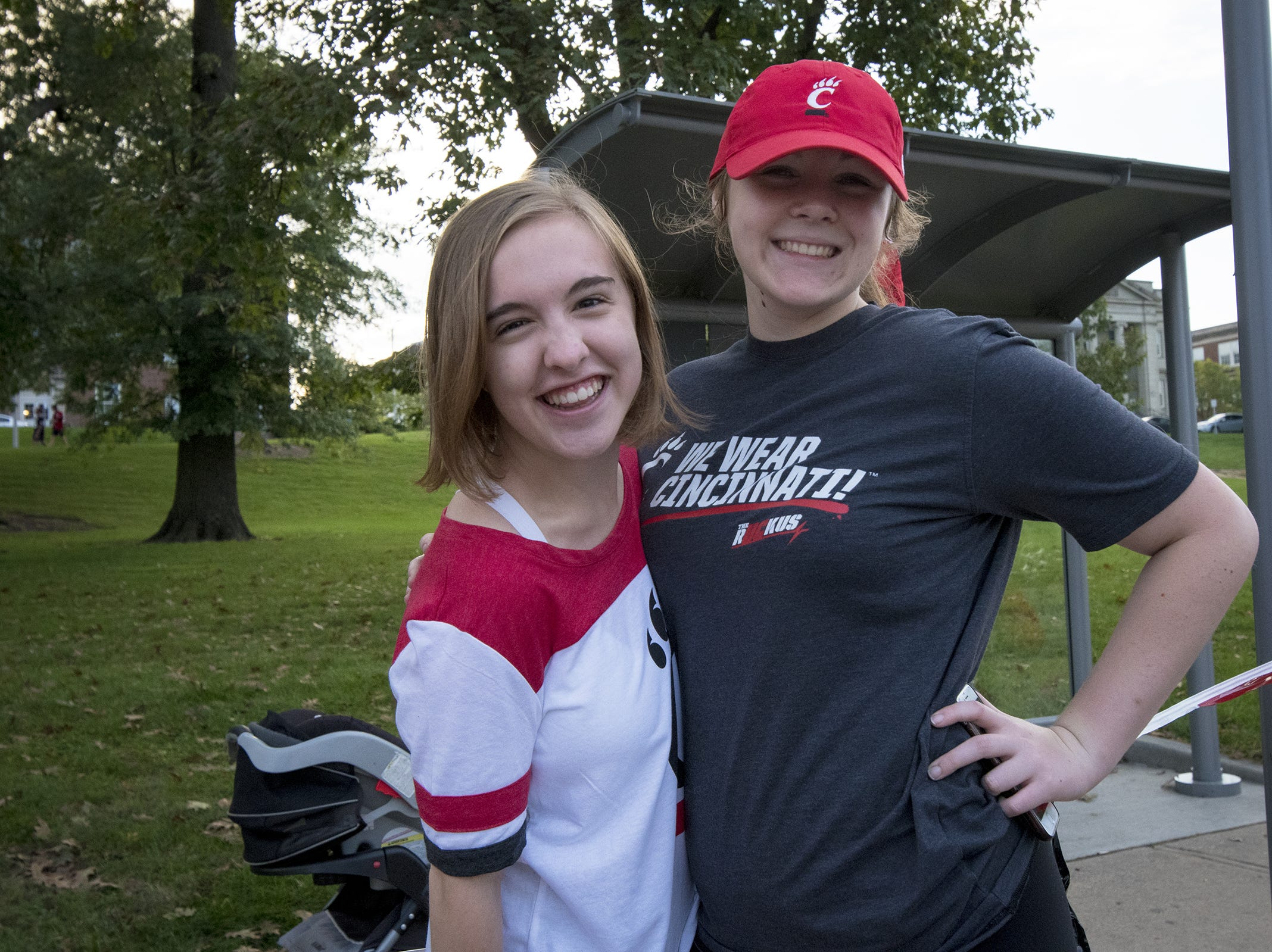 University of Cincinnati students Anne Simendinger and Gabby Bowers attend the Homecoming parade.