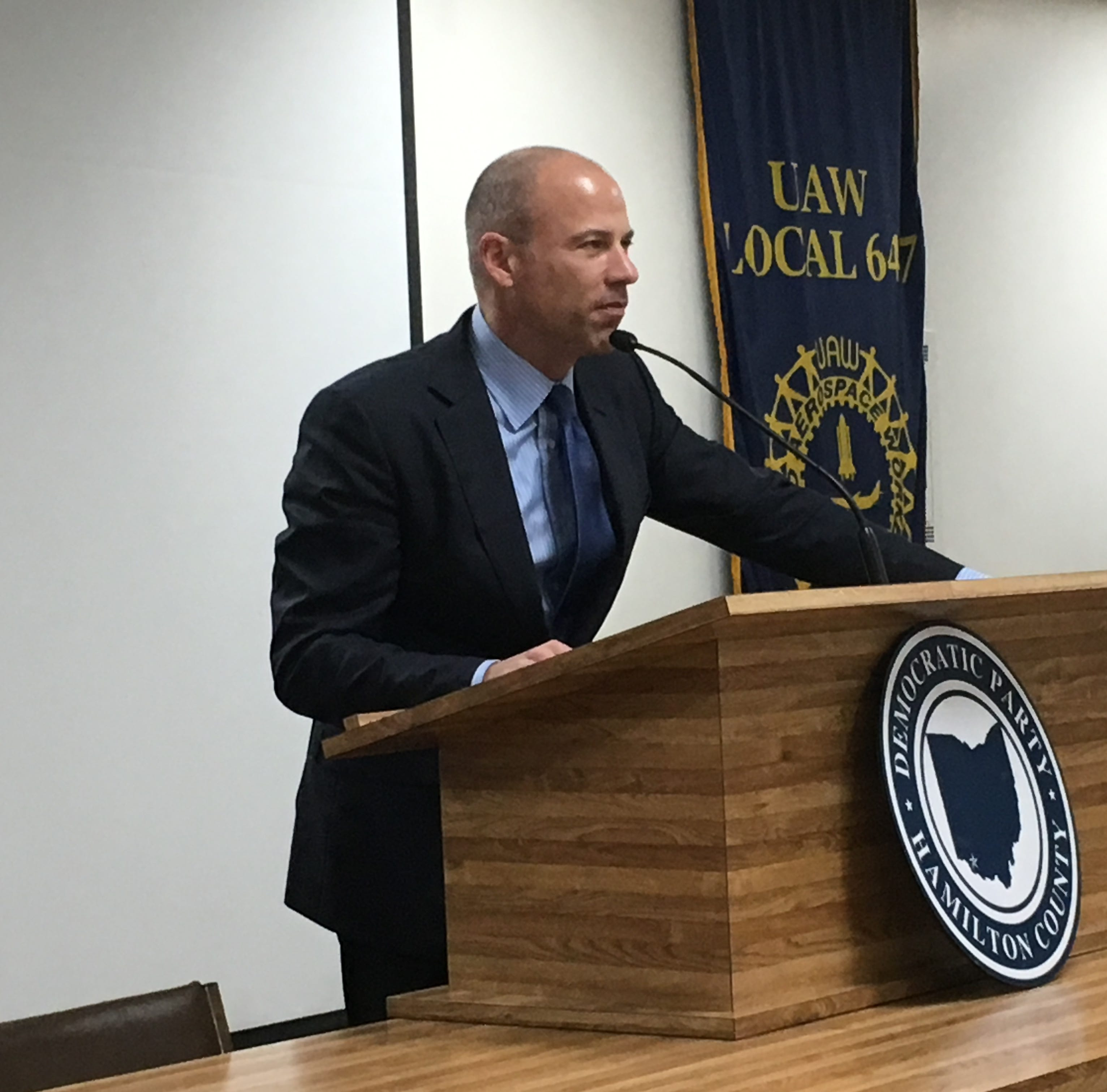 Michael Avenatti speaks Friday to Democrats in Evendale