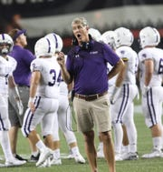 Elder's head coach Doug Ramsey reacts during the Panthers' football game against Moeller, Friday, Oct. 5, 2018.