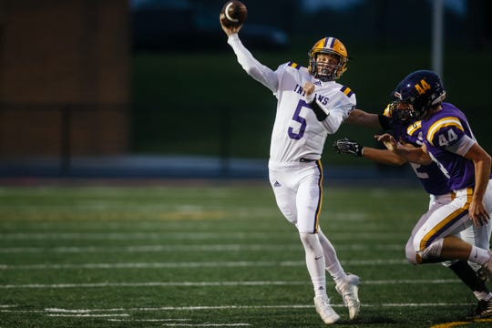 Indianola's Quinn Vesey (5) passes during their game at Johnston High School on Friday, Oct. 5, 2018 in Johnston.