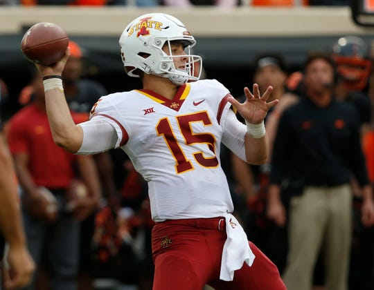 Iowa State quarterback Brock Purdy (15) throws in the second half of an NCAA college football game against Oklahoma State in Stillwater, Okla., Saturday, Oct. 6, 2018. (AP Photo/Sue Ogrocki)