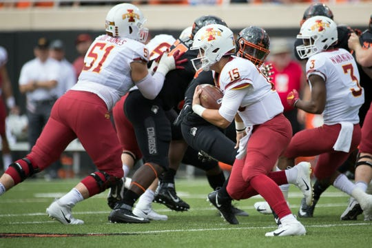 Oct 6, 2018; Stillwater, OK, USA; Iowa State Cyclones quarterback Brock Purdy (15) runs the ball against the Oklahoma State Cowboys during the first quarter at Boone Pickens Stadium.
