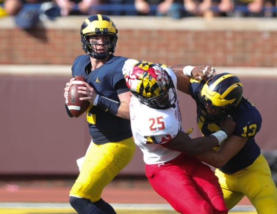 Michigan's Shea Patterson looks to pass against Maryland during the second half Saturday, Oct. 6, 2018 at Michigan Stadium in Ann Arbor.