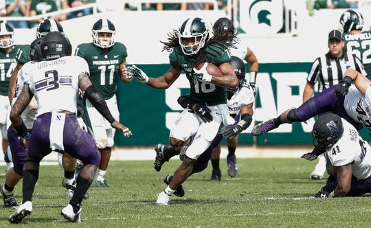 Michigan State receiver Felton Davis III runs against Northwestern during the second half at Spartan Stadium, Saturday, Oct. 6, 2018.