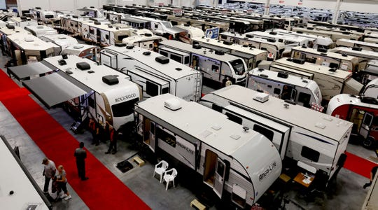 Over 360 recreational vehicles from 15 dealers were in the 314,000 square feet of exhibition space during the 29th Annual Fall Detroit RV & Camping Show at the Suburban Collection Showplace in Novi on Saturday, October 6, 2018.