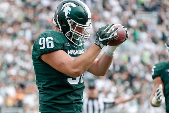 Michigan State defensive end Jacub Panasiuk reacts after a play against Northwestern during the second half at Spartan Stadium, Saturday, Oct. 6, 2018.