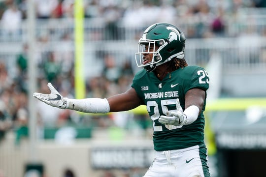 Michigan State receiver Darrell Stewart Jr. complains about a a call during the first half at Spartan Stadium in East Lansing, Saturday, Oct. 6, 2018.