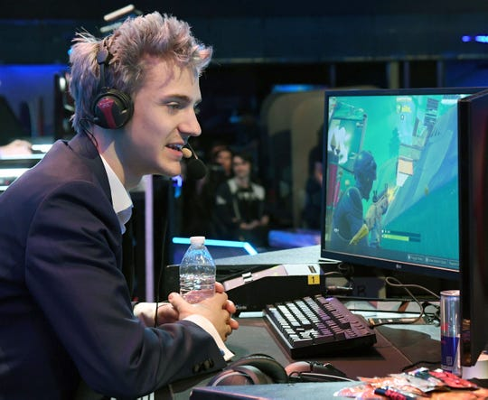 """Twitch streamer and professional gamer Tyler """"Ninja"""" Blevins attends Ninja Vegas '18 at Esports Arena Las Vegas on April 21. Blevins played against more than 230 challengers in front of 700 fans in 10 live """"Fortnite"""" games with up to $50,000 in cash prizes on the line."""
