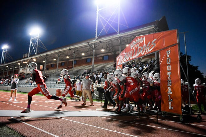 Bosse takes the field as the Reitz Panthers play the Bosse Bulldogs at Enlow Field Friday, October 5, 2018.