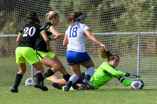 North Goalie Kendyl Guzman (32) blocks a shot attempt by Castle's McKenna Tutt (18) during the IHSAA 3A sectional championship match at the EVSC Soccer Fields in Evansville, Ind., Saturday, Oct. 6, 2018. The Huskies defeated the Knights 1-0 to advance to the 3A regional tournament.