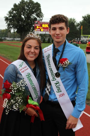 Ajay Riechman was crowned King and Celia Detray was crowned Queen at Oak Harbor High School's homecoming game against Huron on Friday.