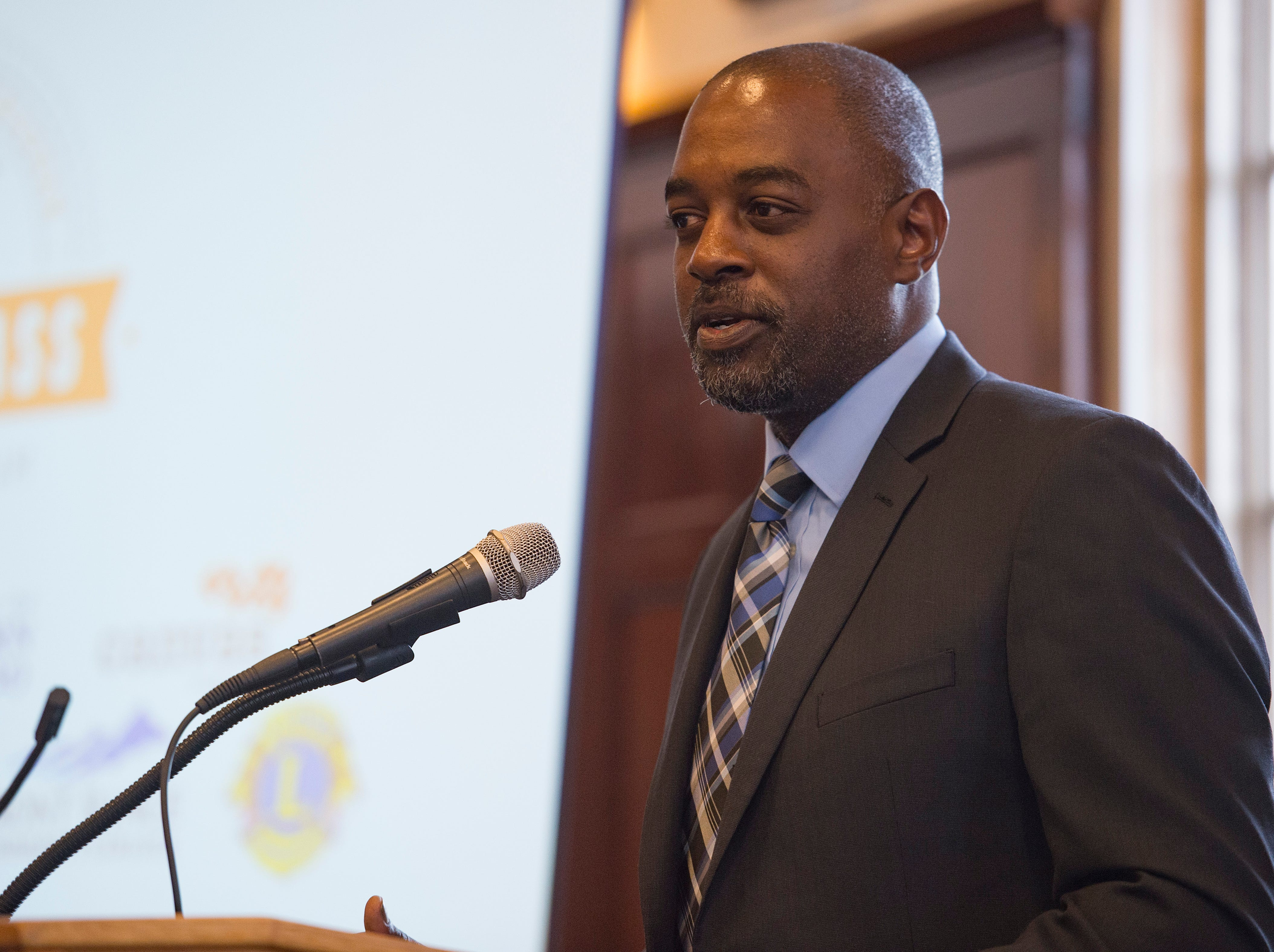 Malcom Johnson of Canvas Credit Union speaks during the Coloradoan's First Class banquet at the University of Northern Colorado in Greeley on Saturday, October 6, 2018. First Class is a program that supports first-generation students in Northern Colorado. The program is now in its third year and is a partnership between The Coloradoan and Aims Community College, Fort Collins Lions Club, Front Range Community College, Colorado State University, Canvas Credit Union (formerly Public Service Credit Union) and University of Northern Colorado.