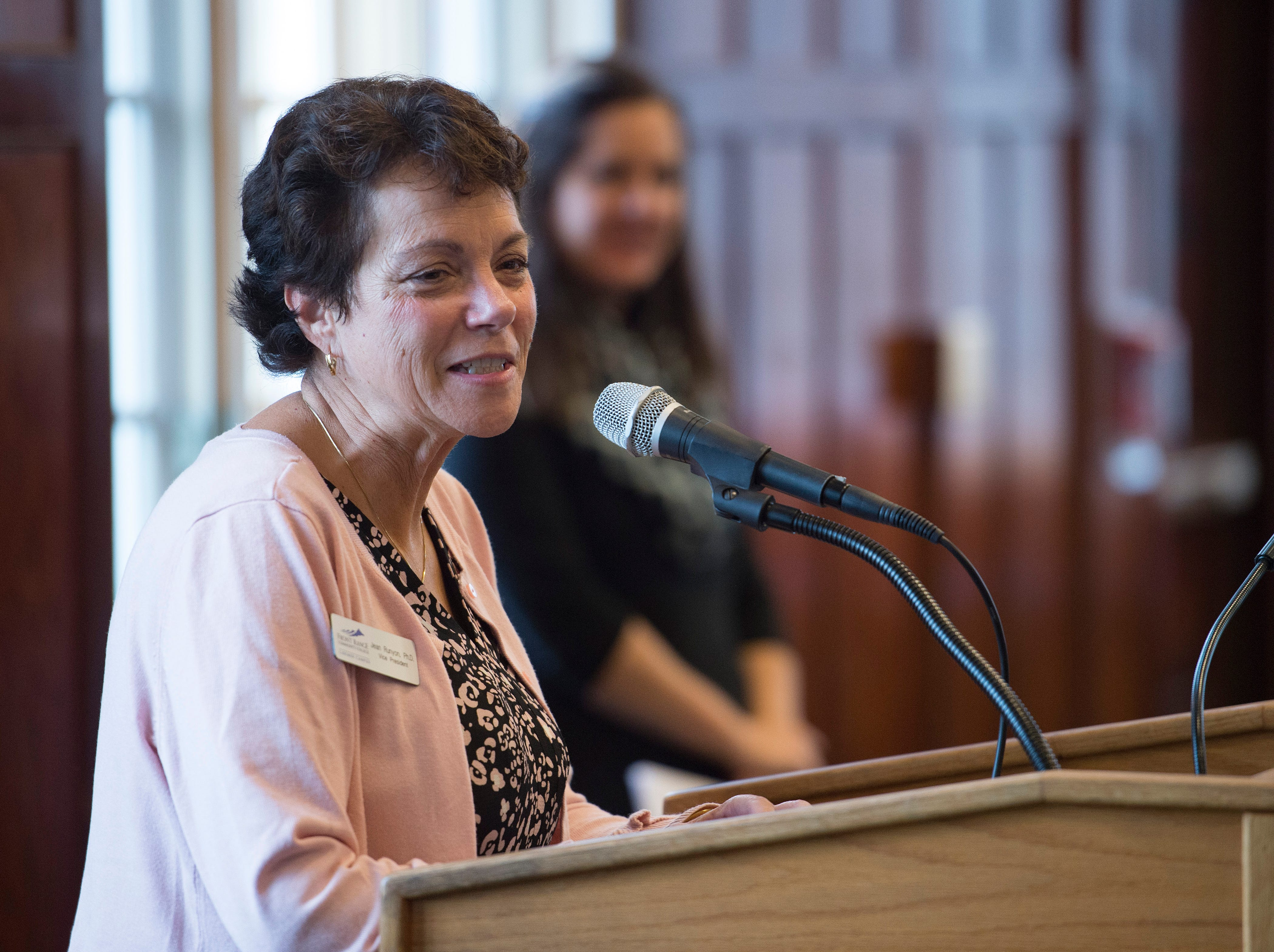 Jean Runyon, representing Front Range Community College, speaks during the Coloradoan's First Class banquet at the University of Northern Colorado in Greeley on Saturday, October 6, 2018. First Class is a program that supports first-generation students in Northern Colorado. The program is now in its third year and is a partnership between The Coloradoan and Aims Community College, Fort Collins Lions Club, Front Range Community College, Colorado State University, Canvas Credit Union (formerly Public Service Credit Union) and University of Northern Colorado.