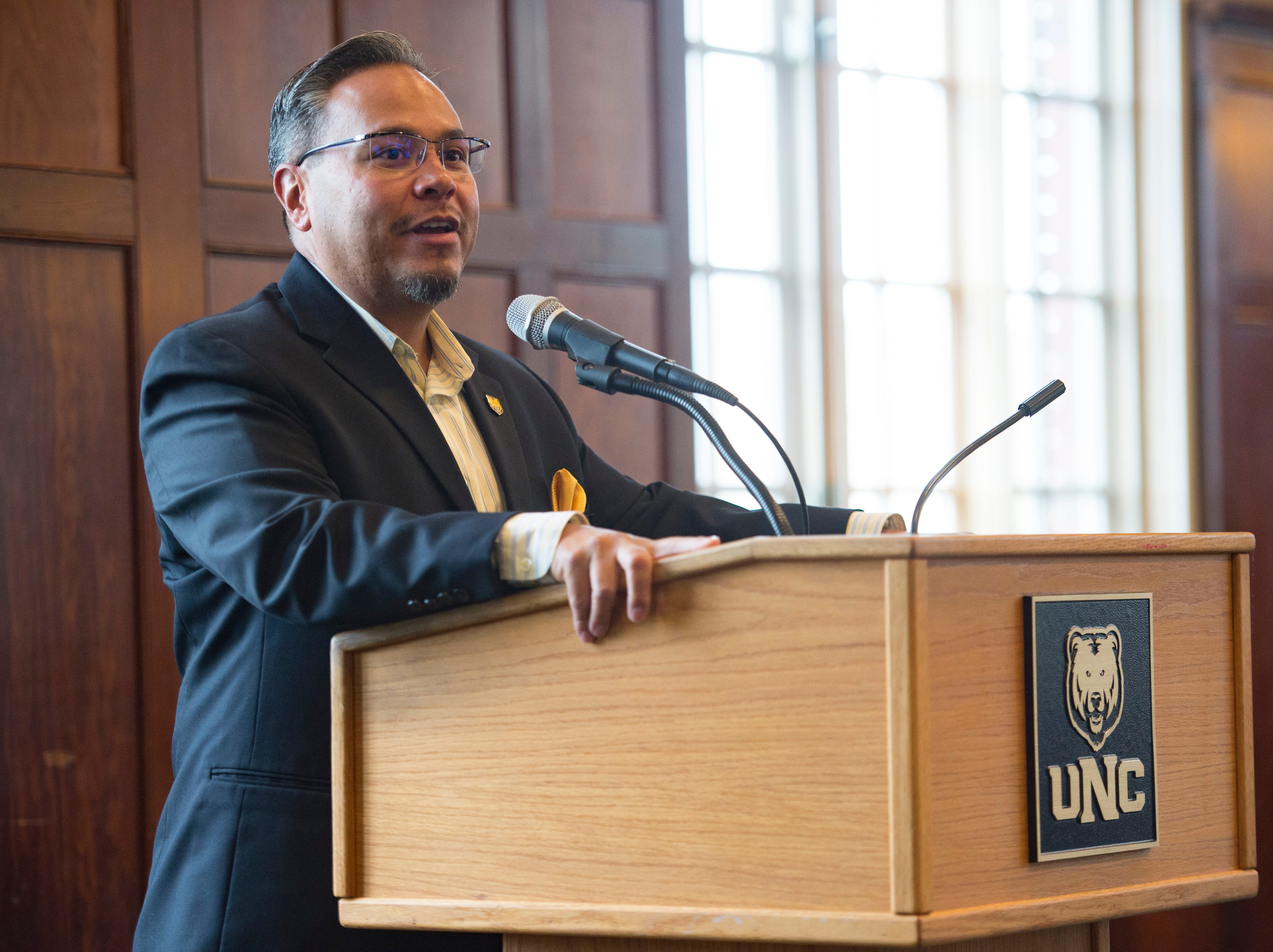 Tobias Guzman, Assistant Vice President of Enrollment Management and Student Access at UNC, speaks during the Coloradoan's First Class banquet at the University of Northern Colorado in Greeley on Saturday, October 6, 2018. First Class is a program that supports first-generation students in Northern Colorado. The program is now in its third year and is a partnership between The Coloradoan and Aims Community College, Fort Collins Lions Club, Front Range Community College, Colorado State University, Canvas Credit Union (formerly Public Service Credit Union) and University of Northern Colorado.