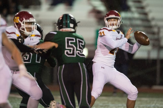 Quarterback Giles Pooler, shown during an Oct. 5, 2018, game against Fossil Ridge, and the Rocky Mountain High School football team will open the 2019 season at 6 p.m. Friday against cross-town rival Fort Collins at French Field.