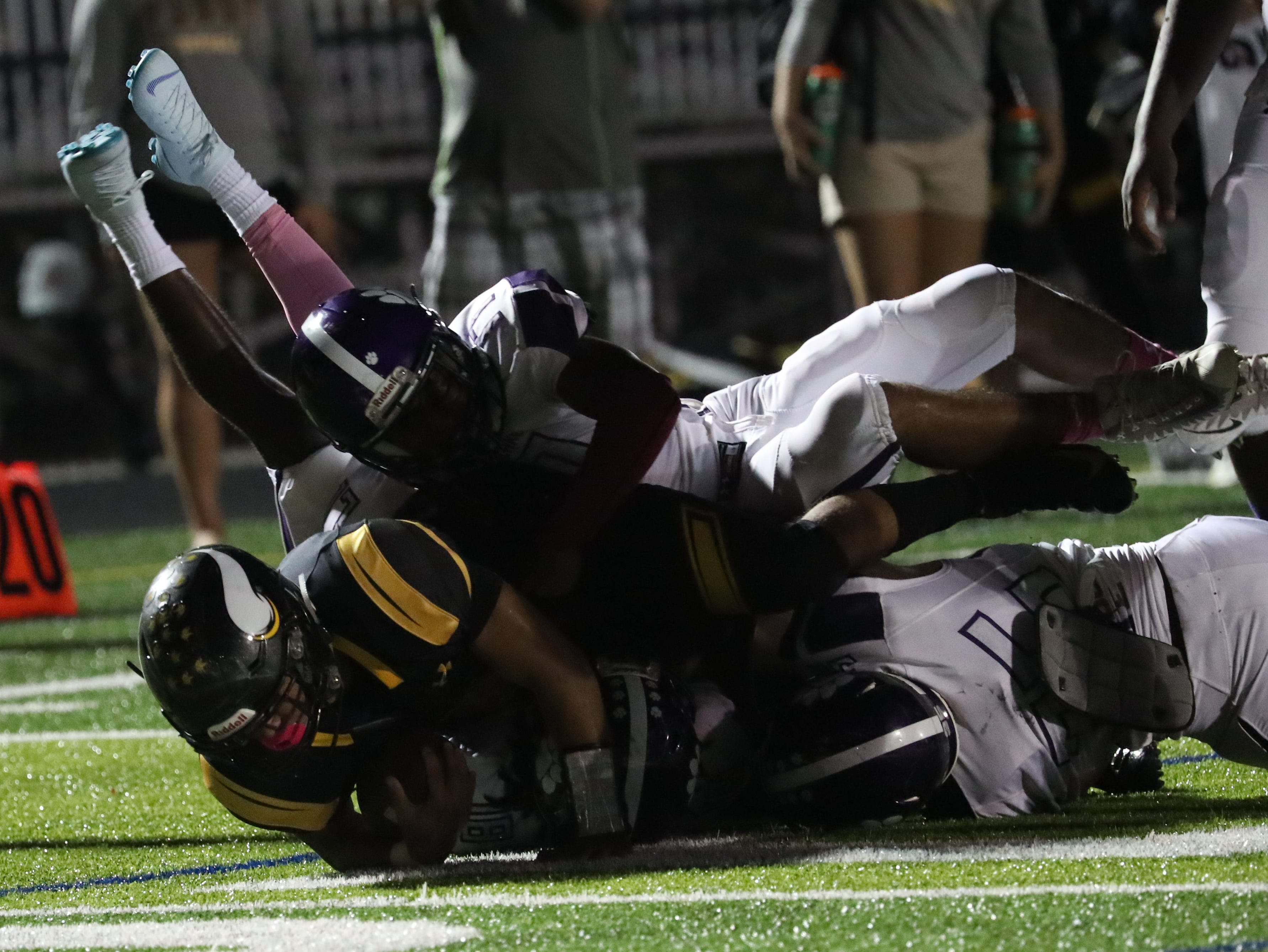Bishop Verot takes on Cypress Lake in high school football on Friday, October 5, 2018, at Bishop Verot High School.