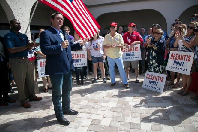 Ron DeSantis speaks to supporters at his campaign office in Cape Coral on Saturday, October 6, 2018.
