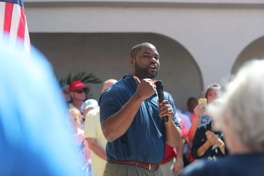 Byron Donalds speaks before a speech by Florida gubernatorial candidate Ron DeSantis at his campaign office on Saturday, October 6, 2018, in Cape Coral.