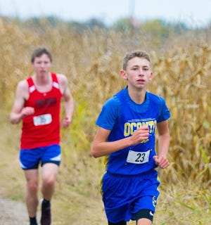Oconto's Josh Woller sets the pace at the Lena Invite on Oct. 2, where he placed first.