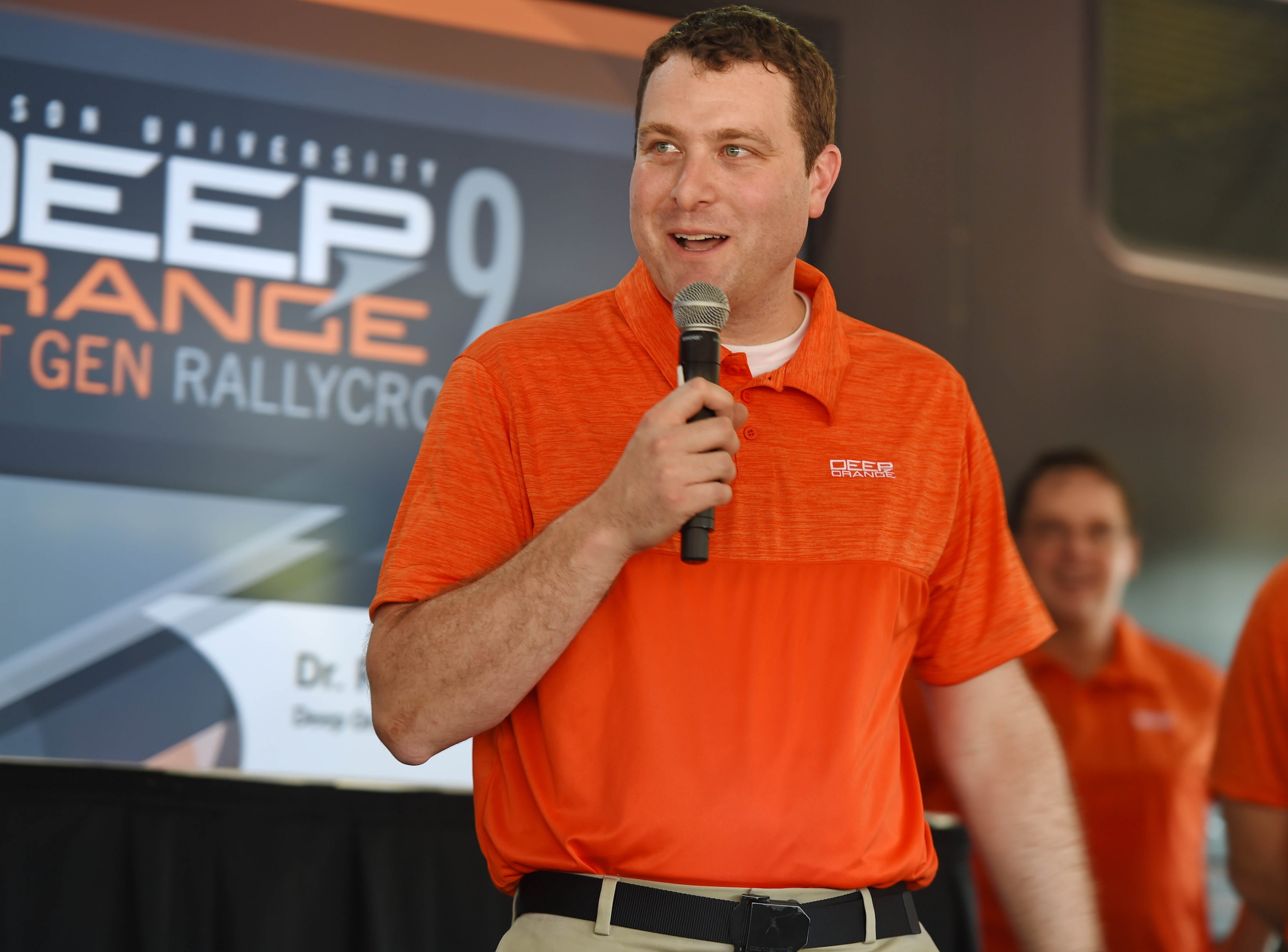 Dr. Rob Pruka, project leader for the Deep Orange 9, speaks to the crowd during the CU-ICAR unveiling of the new Deep Orange 9 rally car Saturday, October 6,  2018.